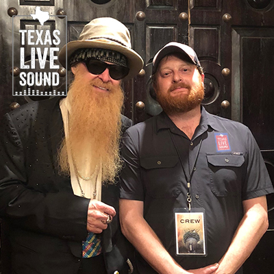 Texas Live Sound owner Mike Davis with Billy Gibbons